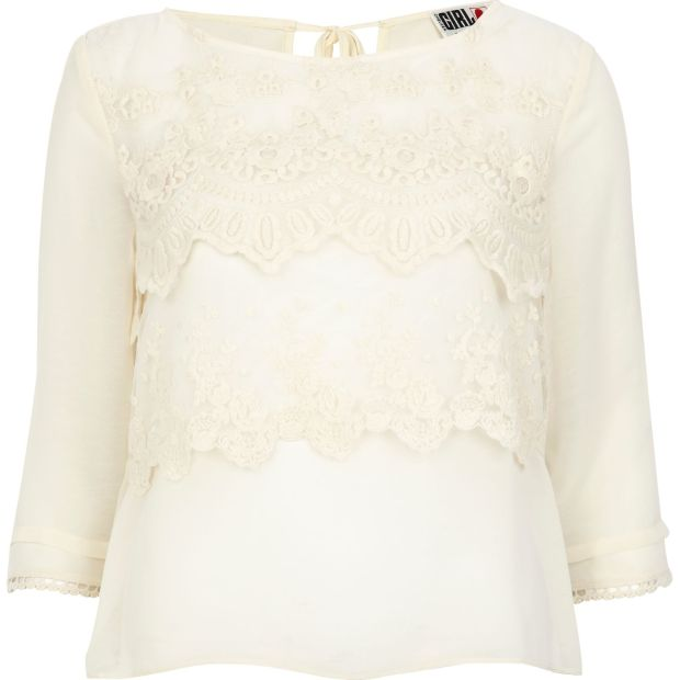 CREAM CHELSEA GIRL LACE FRONT BLOUSE £24
