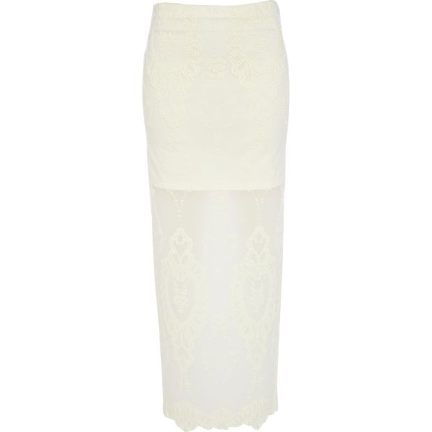 CREAM LACE MAXI SKIRT £32