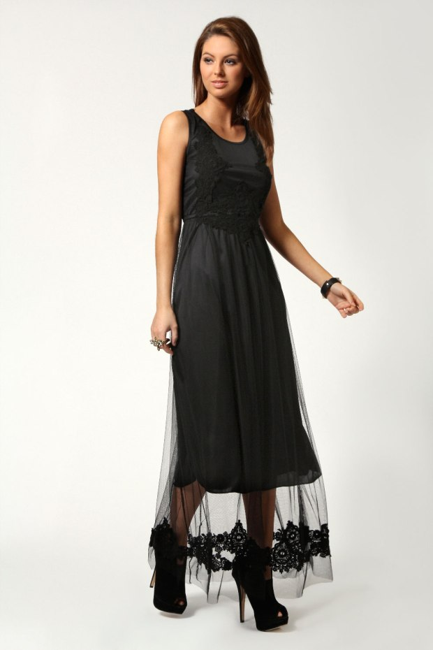Molly Lace and Mesh Detail Maxi Dress £30
